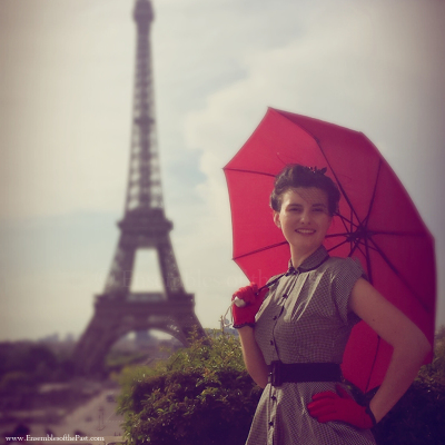 Ensembles of the Past - Sara Gonzalez - Eiffel Tower - 1950's Vintage - Red Umbrella